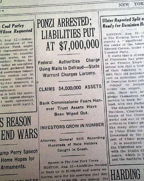 NY Times arresto Charles Ponzi