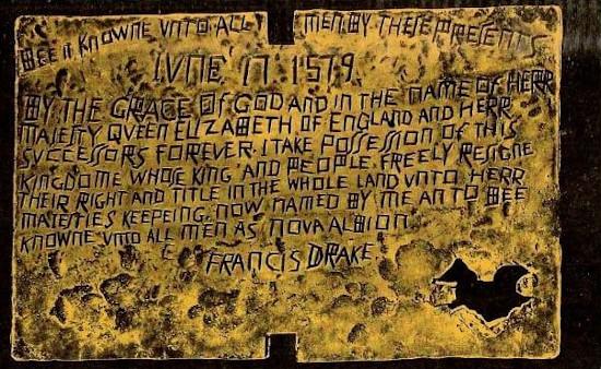 la falsa placca di Francis Drake